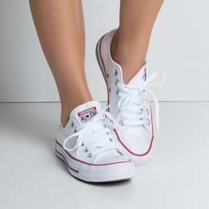 White low top converse size 8
